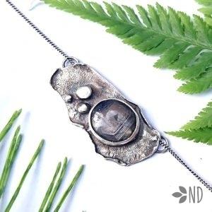 szafir naturalny w srebrze wisior biżuteria artystyczna