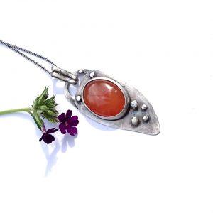 karneol srebro wisior biżuteria artystyczna