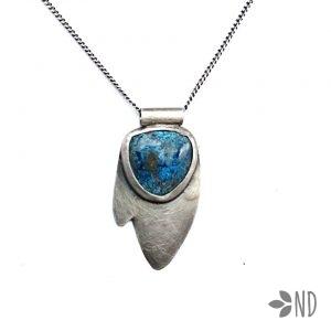 azuryt srebro biżuteria artystyczna wisior prezent