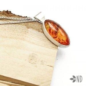 bursztyn naturalny wisior srebro prezent