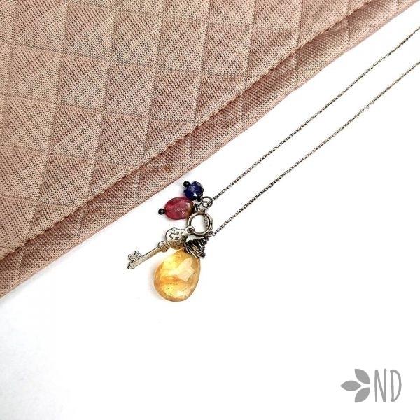 cytryn turmalin rubin szafir srebro naszyjnik celebrytka