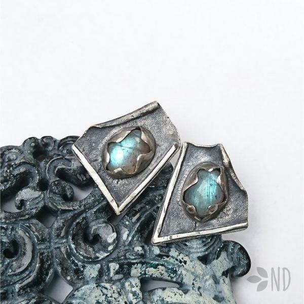 labradoryt niebieski kolczyki sztyfty srebro prezent