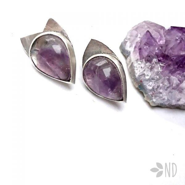 biżuteria naturalna na prezent kolczyki ametyst
