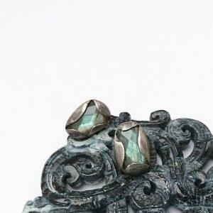 zielony labradoryt sztyfty srebro