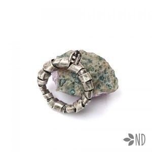 czarny diament srebro pierścień