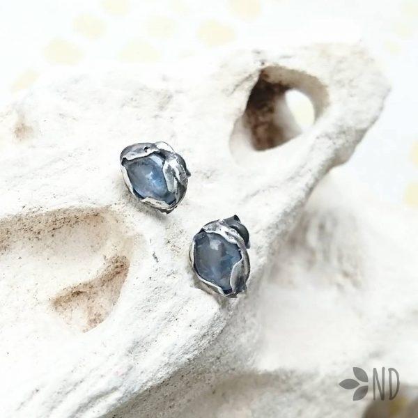 biżuteria artystyczna kianit srebro sztyfty