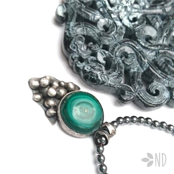 malachit naturalny w srebrze