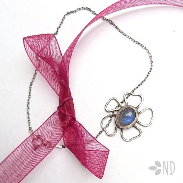 Bransoletka labradoryt niebieski kwiat