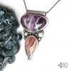 Ametyst i rodochrozyd amulet miłości wisior srebro biżuteria artystyczna