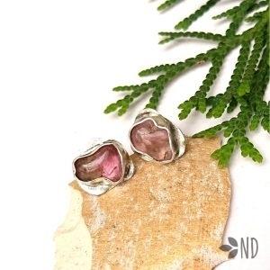 Kolczyki sztyfty różowy turmalin rubelit srebro