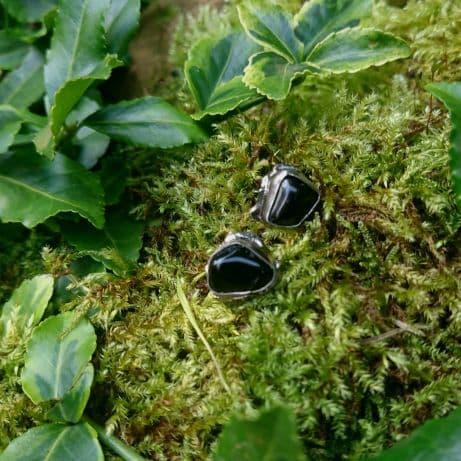 Czarne turmaliny kolczyki sztyfty