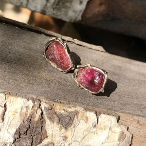 kolczyki różowy turmalin srebro