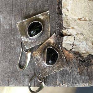 Czarne turmaliny kolczyki