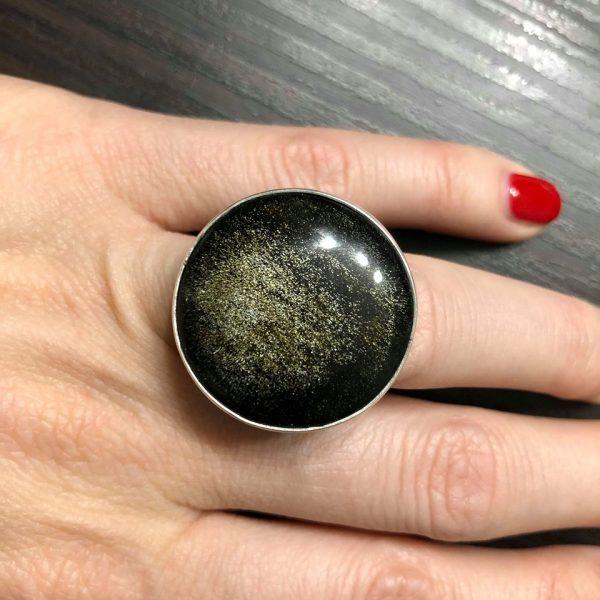 pierścionek z obsydianem złotym