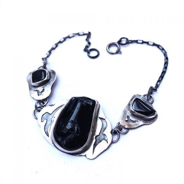 Czarny turmalin bransoletka srebrna