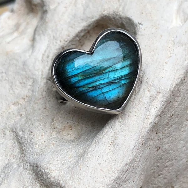 labradoryt serce pierścionek srebro 5