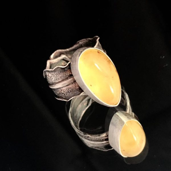 bursztyn cytrynowy pierścionek 0