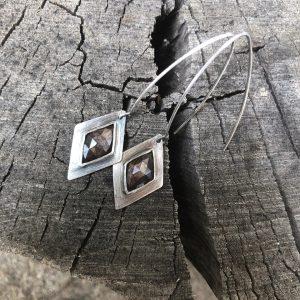Szafiry brązowe kolczyki
