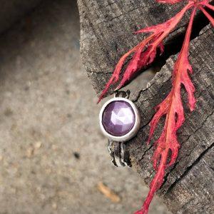 Szafir różowy pierścionek