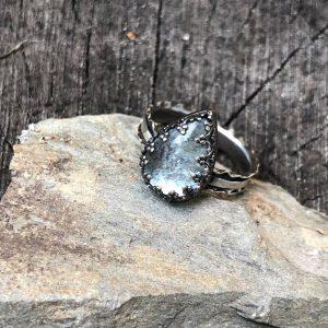 Akwamaryn błękitny pierścionek w koronce rozmiar 17