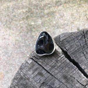 Turmalin w srebrze pierścionek