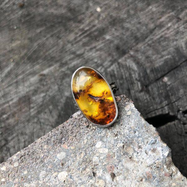 Bursztyn pierścionek