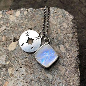 Kamień księżycowy celebrytka romb