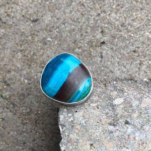Chryzokola pierścionek