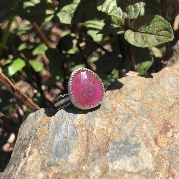 Pierścionek rubin srebro 1