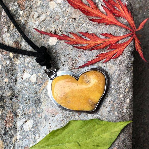 Serce zawieszka bursztyn 4